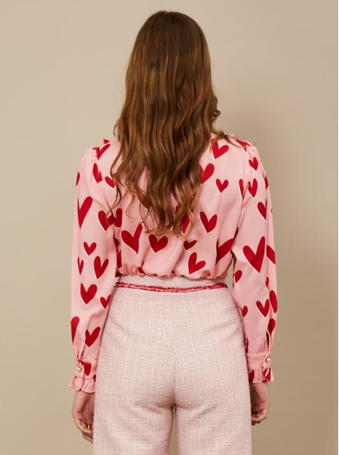 Ferris Wheel Bow Blouse - Cotton Candy and Scarlet