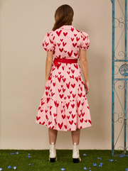 Ferris Wheel Midi Dress - Cotton Candy and Scarlet