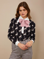 Carousel Retro Collar Blouse - Black and White