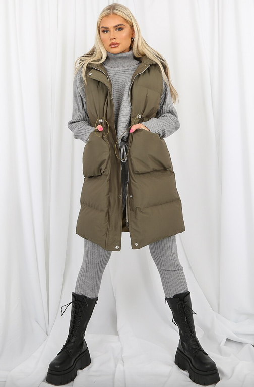 Longline Hooded Padded Gilet - Khaki