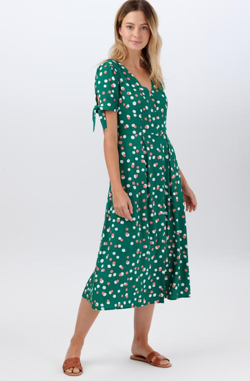 Veronica Tea Dress - Green Dappled Spot