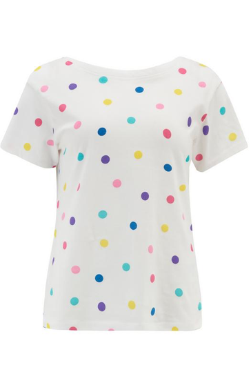 Lila Scoop Back Tee - Off White Rainbow Spot