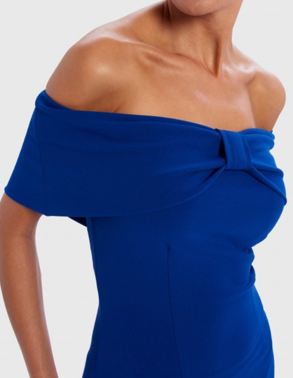 Lincoln Navy Blue Bardot Off-Shoulder Asymmetric Ruffle Midi Dress