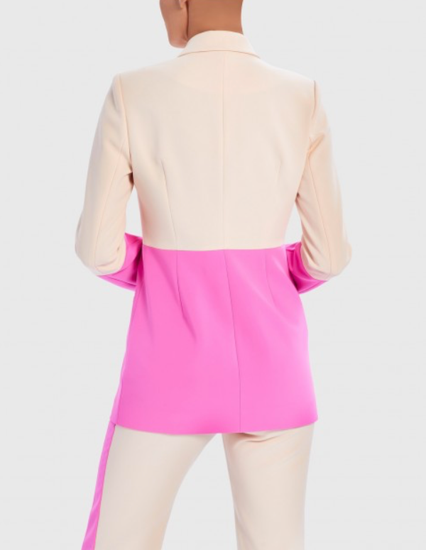 Yavin Pink and Nude Colour Block Tailored Blazer