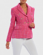 Manga Pink Tartan Tweed Military Blazer