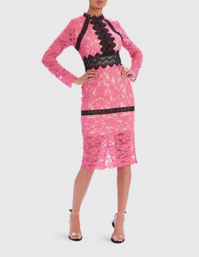 Hera Pink and Black Contrst Lace Long-Sleeved Midi Dress