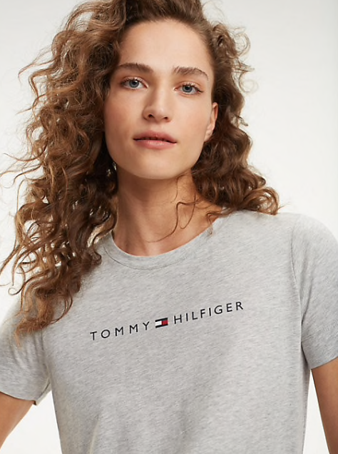 Tommy Hilfiger Essential Crew Neck Printed T-Shirt - Light Grey