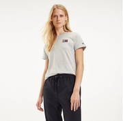Tommy Hilfiger Talita Crew Neck Embroidered T-Shirt - Light Grey