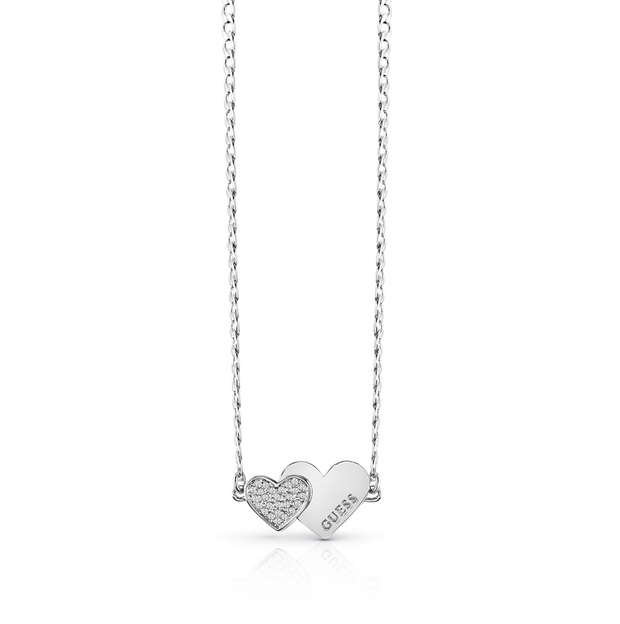 Guess Me & You Double Heart 16-18 Inch Necklace - Silver