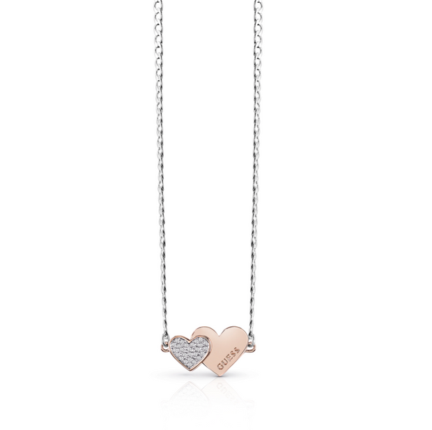 Guess Me & You Double Heart 16-18 Inch Necklace - Rose Gold & Silver