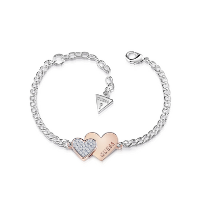 Guess Me & You Double Heart Bracelet - Rose Gold & Silver