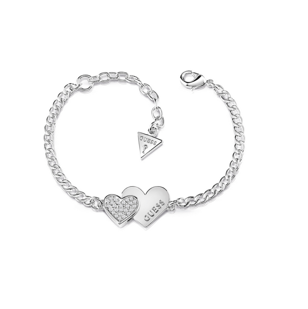 Guess Me & You Double Heart Bracelet - Silver