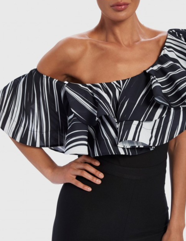 Black & White Contrast Stripe One Shoulder Ruffle Jumpsuit