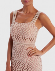 Nude & White Contrast Laser Cut Bandage Peplum Midi Dress