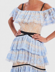 Blue & Nude Lace Cold-Shoulder Ruffle Midi Dress