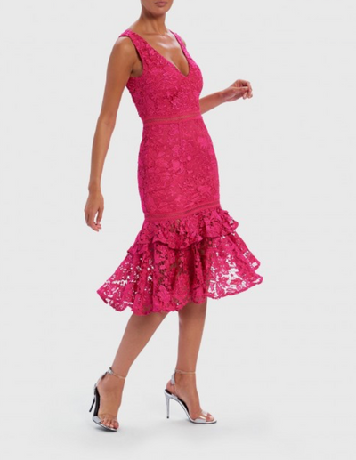 Pink Floral Lace Embroidered Midi Dress With Ruffle Drop Hem