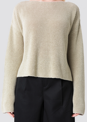 Knitted Long Sleeve Sweater - Sand