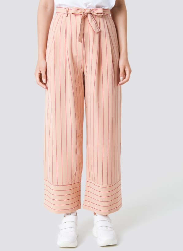 Stripe Wide Trousers - Pink