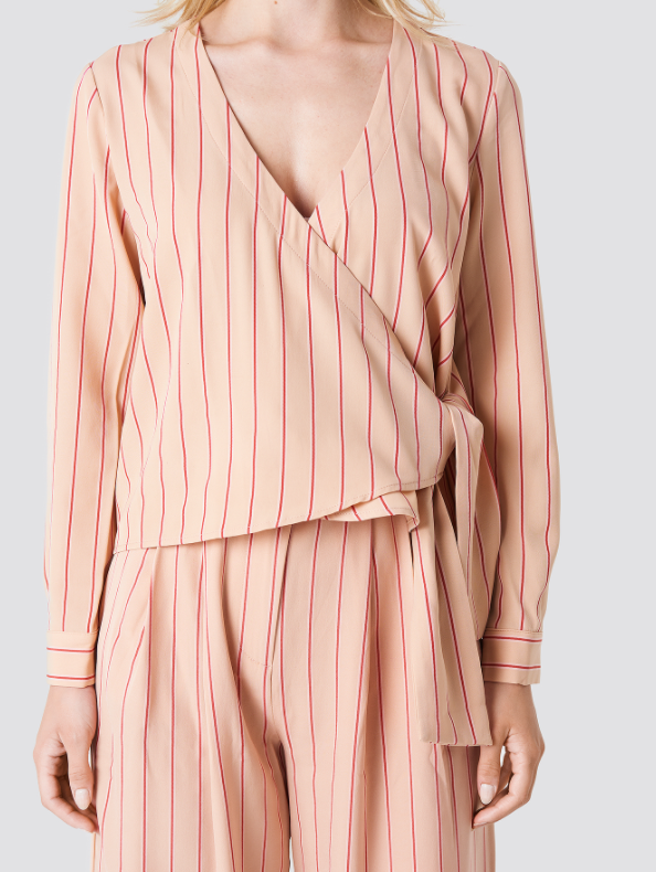 Stripe Wrap Top - Pink