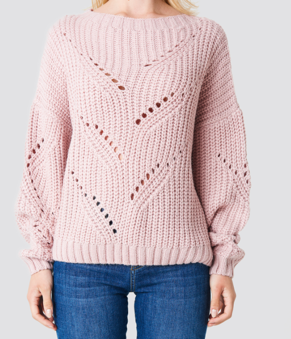 Hole Knit Sweater - Pink