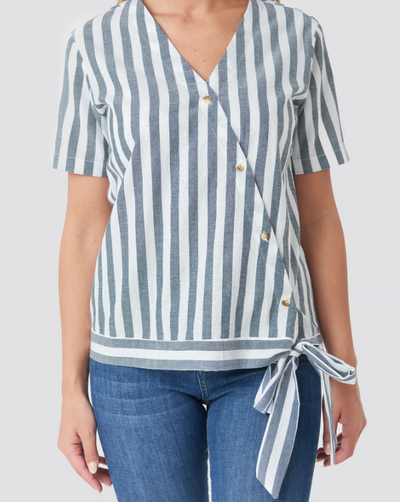 Stripe Overlap Blouse - Blue/White