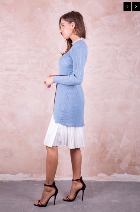 Pleated Jumper Dress with Removeable Belt - Blue