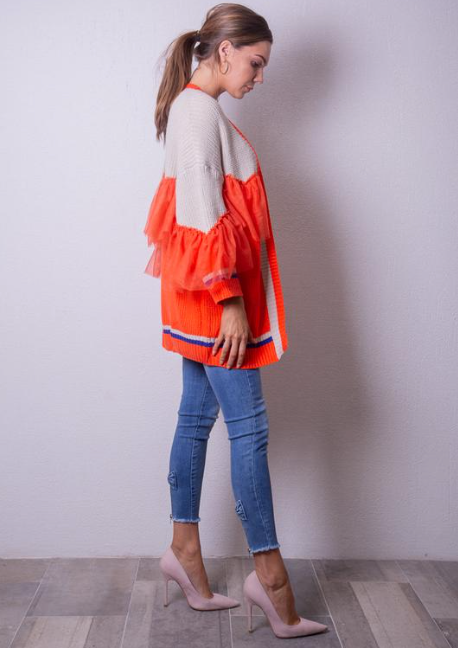 Orange/Blue & Cream Cardigan with Tulle Detail