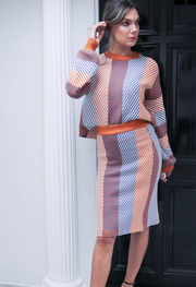 Knitted Two Piece Set - Rust