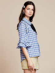 Table Manners Ruffle Blouse - Placid Blue