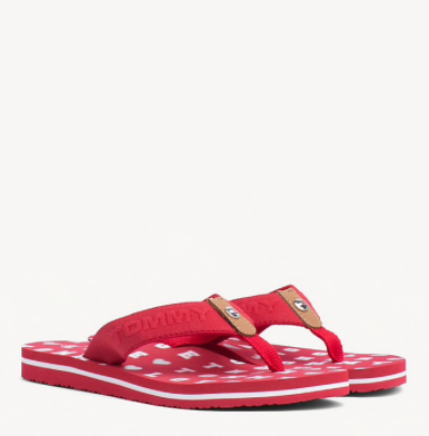 Tommy Hilfiger Flat Beach Embossed Sandal - Tango Red