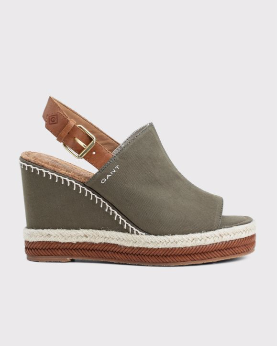 San Diego Wedge Sandal - Khaki Green