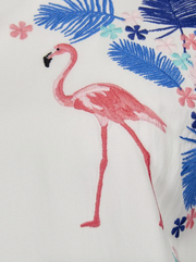 Flamingos & Flowers Embroidered Top