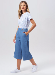 Harlow Denim Culottes - Denim Blue