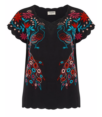 Peacocks Paradise Embroidered Top