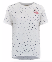 Mimi Flamingo Polka Dot T-Shirt - White/Navy