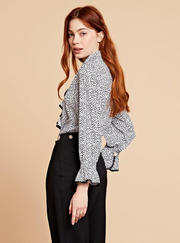 Polka Ruffle Blouse - Black & White