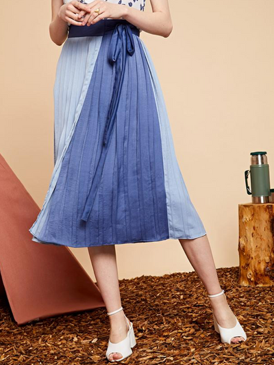 Magnetic North Pleated Wrap Skirt - Cerulean Blue