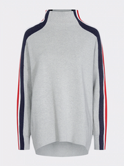 Tommy Hilfiger Maisy Stripe Sleeve High Neck Jumper - Light Grey
