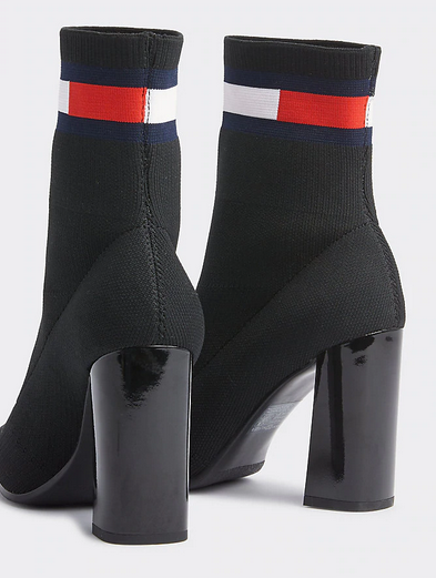 Tommy Hilfiger Sock Heeled Boot - Black