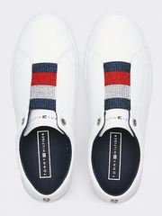 Tommy Hilfiger Crystal Leather Slip On Sneaker - White