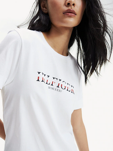 Tommy Hilfiger Kacy Crew Neck Logo T-Shirt - Bright White