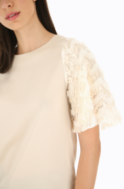 Sequin Sleeve Top - Chalk