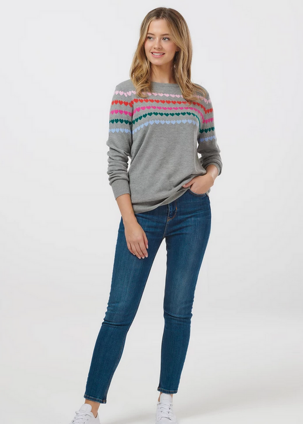 Rita Rainbow Drops Heart Sweater - Grey Marl