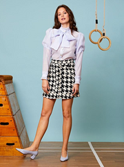 Decider Tweed Mini Skirt- Black and Ivory