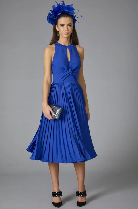 Solera Pleat Dress - Cobalt Blue