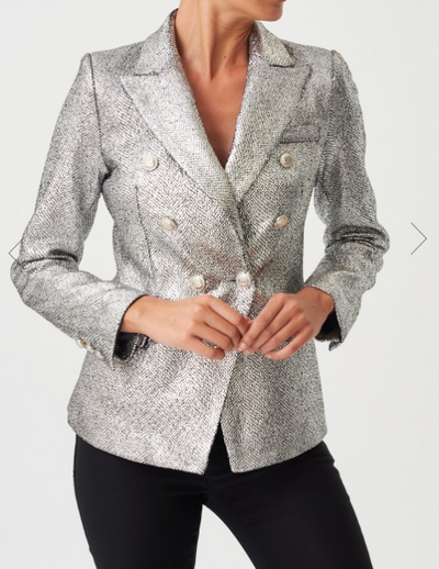 Silver Sequined Double-Breasted Blazer