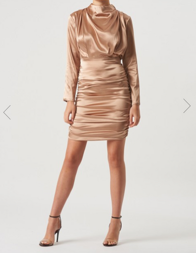 Gold Satin Long Sleeve Mini Dress