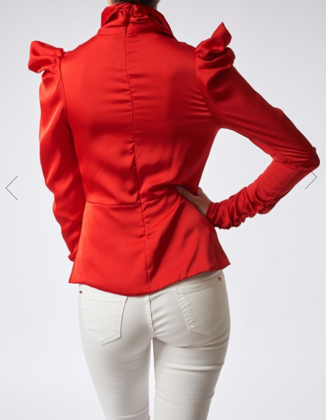 Red High-Neck Ruched Satin Blouse With Bow