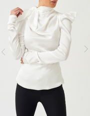 White High-Neck Ruched Satin Blouse With Bow