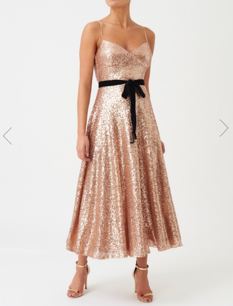 Rose Gold Sequin Midi Dress